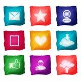 Aquarelle sociale d'icônes de media Photo libre de droits