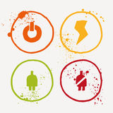 Aquarelle symbols with splashes and splatters all around Stock Photos