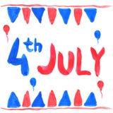 Aquarelle texte 4 juillet Image libre de droits