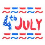 Aquarelle texte 4 juillet Images libres de droits