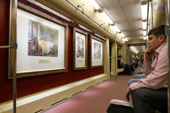 Aquarelle train in Moscow subway Stock Photos