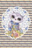 Aquarelle uil, kinderachtige stijl, gestreepte achtergrond vector illustratie