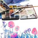 Aquarelle und Malerpinsel Stockbilder