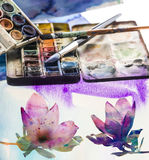 Aquarelle und Malerpinsel Lizenzfreie Stockbilder