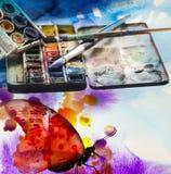 Aquarelle und Malerpinsel Lizenzfreie Stockfotografie