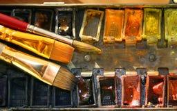 Aquarelle und Pinsel Stockfoto
