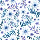Aquarelle Violet Leaves légère et modèle sans couture de petites fleurs Photo libre de droits
