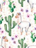 Aquarellelemente für Ihr Design mit Kaktuspflanzen, Blumen und Lama lizenzfreie abbildung