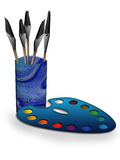 Aquarelles et balais d'isolement Illustration Stock