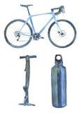 Aquarellfahrradpumpe und -flasche Stockbilder