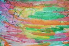 Aquarellfarbenfarben, Stift zeichnet, Weinlesehintergrund Stockfotografie