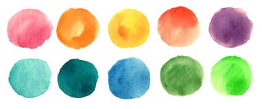 Aquarellfarbenkreise Lizenzfreies Stockbild