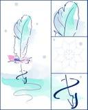 Aquarellfederkunst mit abstraktem Eislaufsatz Winterschneeflocke und Federrochen des blauen Rotes Schöner, herrlicher Hintergrund Lizenzfreie Stockfotos