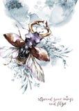 Aquarellfliegenkäfer mit Hörnern auf mistic Planeten und Blumenhintergrund Tier, Insekten Magischer Flug Kann sein lizenzfreie abbildung
