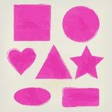 Aquarellformen spritzt Dreieck, Kreis, Herz, Ellipse, Rechteck, Quadrat, die Hauptrolle spielen helles Rosa Gemaltes Design Lizenzfreies Stockbild