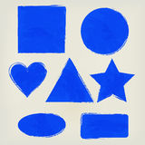 Aquarellformen spritzt Dreieck, Kreis, Herz, Ellipse, Rechteck, Quadrat, Sternindigo Gemalte Gestaltungselemente Lizenzfreie Stockfotografie