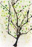Aquarellfrühlingsbaum Stockfotos