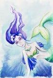 Aquarellfrauenmädchenmeerjungfrau-Sirenenfische Unterwasser Lizenzfreie Stockfotos