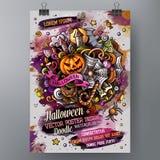 Aquarellgekritzel Halloween-Plakatdesignschablone der Karikatur Hand gezeichnete Stockbilder