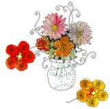 Aquarellgekritzelblumenstrauß des schönen Sommers blüht im Vase Lizenzfreie Stockfotografie