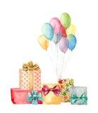 Aquarellgeschenkboxen mit Bogen- und Luftballonen Handgemalte Illustration von blauen, rosa, gelben, purpurroten Ballonen und von Lizenzfreie Stockfotografie