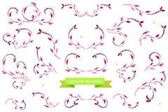 Aquarellgestaltungselemente Satz nette Retro- Blumen vereinbarte UNO eine Form des Kranzes, der für Heiratseinladungen und Glückw Stockfotografie