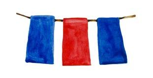 Aquarellgirlande von drei Flaggen rot und blau lizenzfreie stockfotos