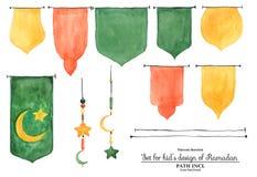 Aquarellgirlandenelemente für Ramadan-Design Lizenzfreie Stockbilder