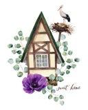 Aquarellglücklicher Hauptaufkleber Aquarellhaus in der alpinen Art mit weißem Storch und Nest, im silbernen Dollar des Eukalyptus lizenzfreie abbildung