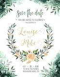 Aquarellgrün färben Hochzeitseinladungskarte mit Grün- und Goldelementen Papierbeschaffenheit mit Blumen- und Blättern lizenzfreie abbildung