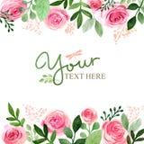 Aquarellgrußkartenblumen handmade Glückwunschhintergrund Abbildung für Ihre Auslegung lizenzfreie abbildung