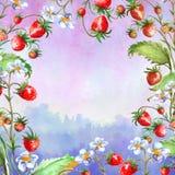 Aquarellgru?karte, Einladung mit einer Betriebserdbeere Bl?hender Busch mit einer roten Beere und einer Blume stock abbildung