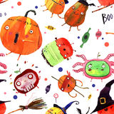 Aquarellhalloween-Karikaturillustration Stockbilder