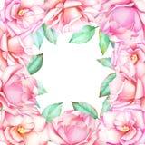 Aquarellhand gezeichneter Blumenrahmen mit rosa Rosen stock abbildung