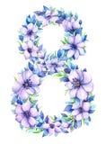 Aquarellhand gezeichnetes Blumenmitglied 8 Stockbilder