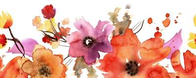 Aquarellhandgemalte nahtlose Blumengrenze einladung Abstraktionsabbildung für Hochzeit Kaninchen mit einem Geschenk Lizenzfreies Stockbild