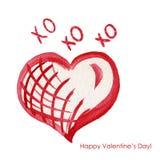 Aquarellherz-Grußkarte - glückliches ` Valentinsgruß XOXOXO sDay Stockfoto