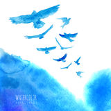 Aquarellhimmelhintergrund mit Vögeln Stockbild