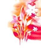 Aquarellhintergrund - Blumen Stockfoto