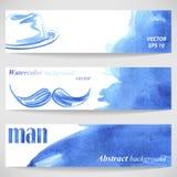 Aquarellhintergrund mit dem Hut und dem Schnurrbart der stilvollen Männer lizenzfreie abbildung