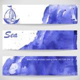 Aquarellhintergrund mit dem Schiff stock abbildung