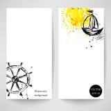 Aquarellhintergrund mit dem Schiff, der Sonne und dem Lenkrad lizenzfreie abbildung