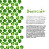 Aquarellhintergrund mit grünen Kreisen Abstrakter Retro- Hintergrund Vektoraquarell für Broschüre, Fahne Stockfotos