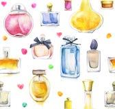 Aquarellhintergrund mit Parfümen Stockbild