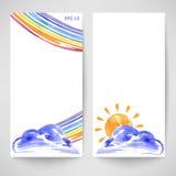 Aquarellhintergrund mit Wolken, Sonne und Regenbogen lizenzfreie abbildung