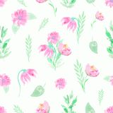 Aquarellhintergrundmuster mit rosa Blumen und den Zweigen lizenzfreie abbildung