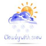 Aquarellillustration bewölkt mit Schnee vektor abbildung