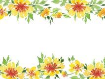 Aquarellillustration der gelben Blumenrahmenpostkarte stock abbildung