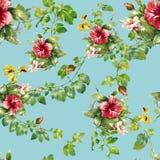 Aquarellillustration des Blattes und der Blumen, nahtloses Muster Stock Abbildung