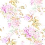 Aquarellillustration des Blattes und der Blumen, nahtloses Muster Stockfotos